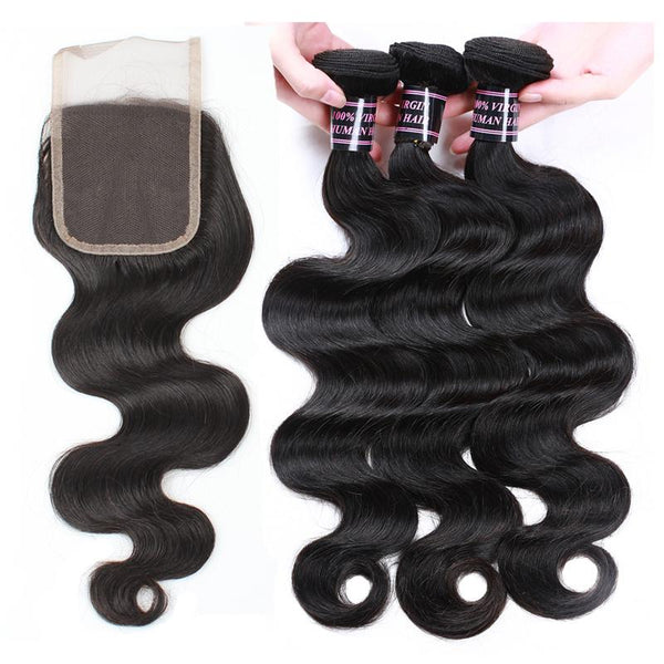 Easy Hair Brazilian Body Wave Virgin Human Hair 3 Bundles With 4x4 Lace Closure - Easy Hair
