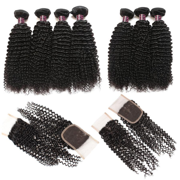 Ishow Hair Malaysian Curly Wave Virgin Human Hair Extensions 4 Bundles with Lace Closure