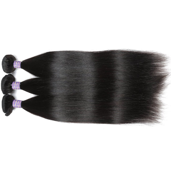 ALLove Virgin Brazilian Straight Hair 3 Bundles With 13x4 Lace Frontal