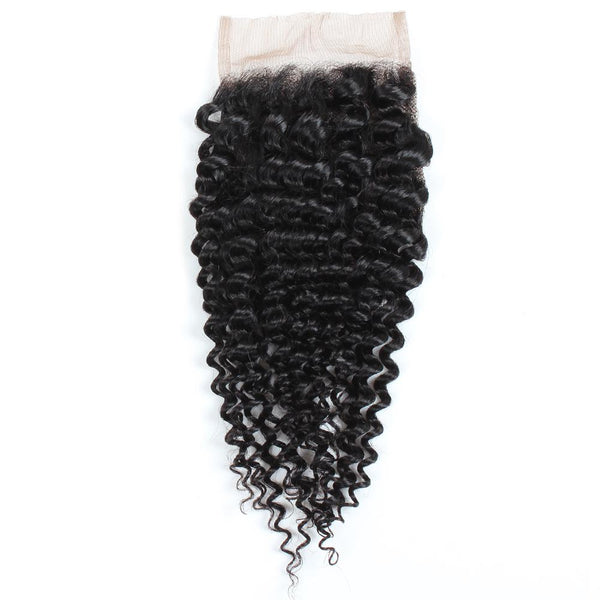 Easy Hair Malaysian Virgin Human Hair Curly Wave 4x4 Swiss Lace Closure Extensions - Easy Hair