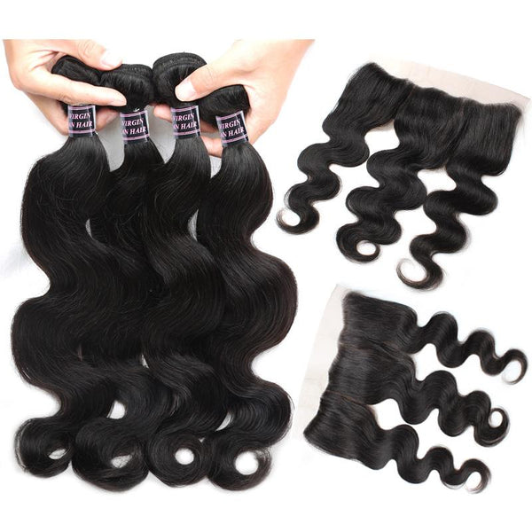 Easy Hair Brazilian Virgin Hair Body Wave 3 Bundles With Lace Frontal Closure - Easy Hair