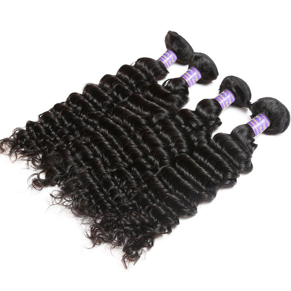 allove indian deep wave virgin deep curly hair extensions 4pc lot