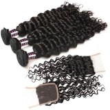 ishow hair deep wave indian weave 3 bundles with side part closure