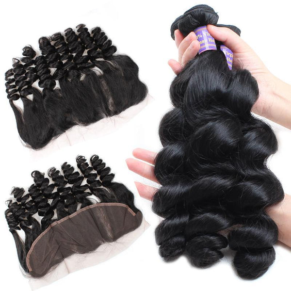 allove brazilian loose wave virgin hair 3 bundles with 13 4 lace frontal