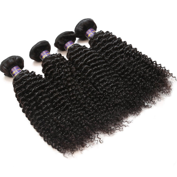 Allove Hair Indian kinky Curly Virgin Human Hair 4 Bundles With 13*4 Lace Frontal Closure - Easy Hair