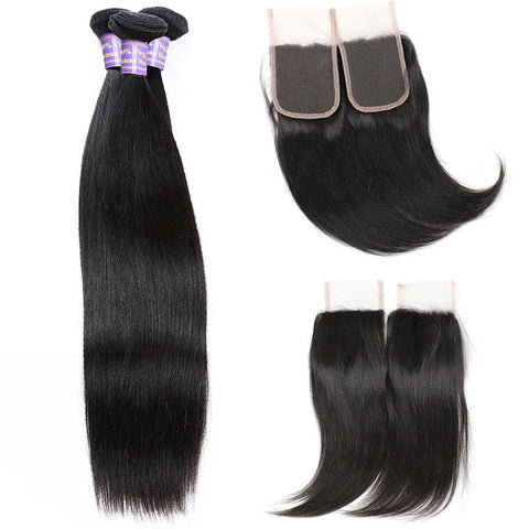 Allove Malaysian Straight Hair Weave 3 Bundles with Lace Closure