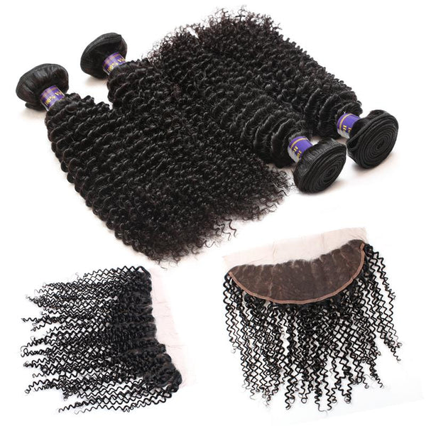 ALLove Brazilian Curly Virgin Hair 3 Bundles With Lace Frontals Closure