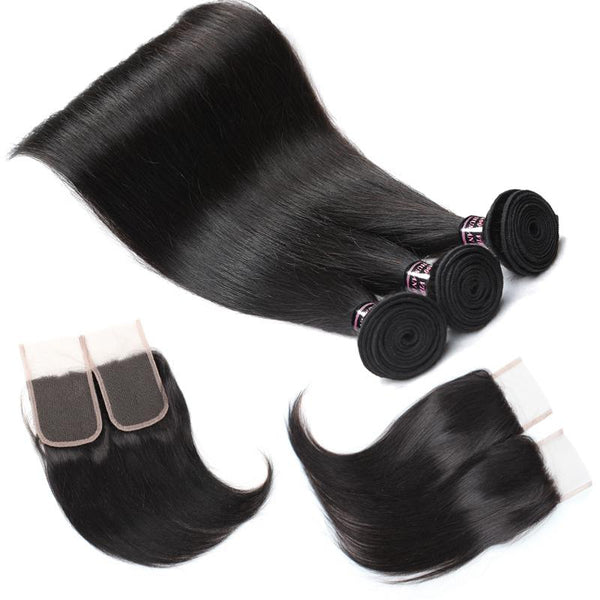 Ishow Peruvian Straight Virgin Human Hair 3 Bundles with Lace Closure
