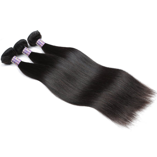 Allove Hair Unprocessed Peruvian Silky Straight Human Hair 3 Bundles with Lace Closure