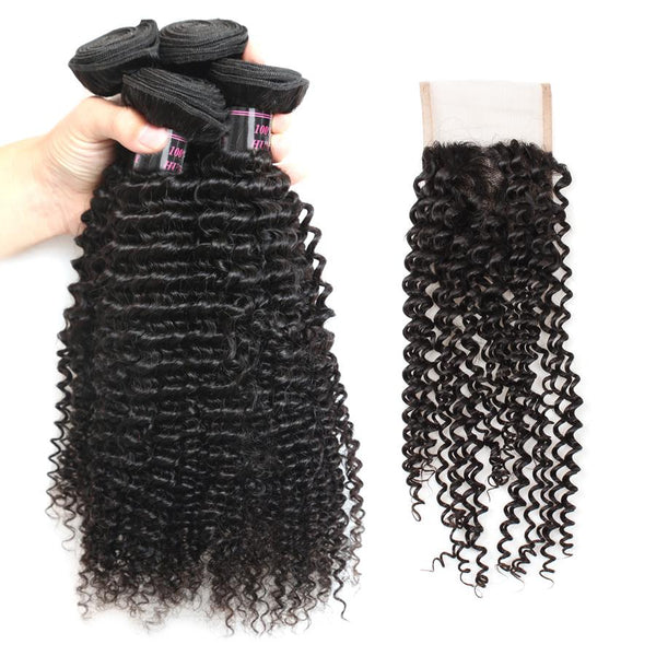 Easy Hair Virgin Indian Human Hair Curly Weave 4 Bundles With Lace Closure - Easy Hair