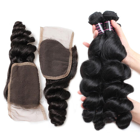 ishow brazilian loose wave hairstyles 4 bundles with lace hair closure