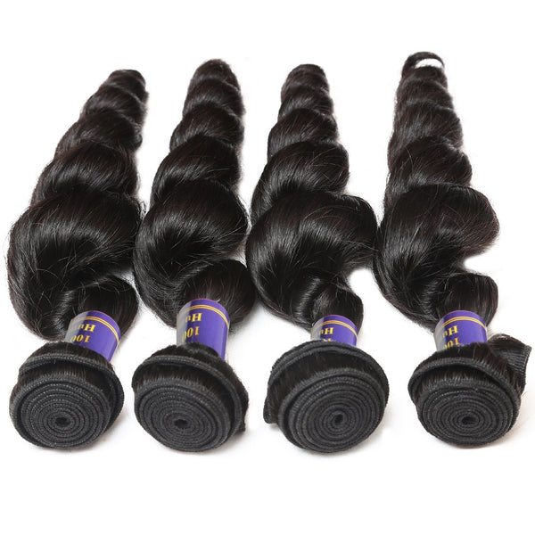 Easy Hair 10A Malaysian Virgin Human Hair Unprocessed Loose Wave 4 Bundles With Lace Closure - Easy Hair