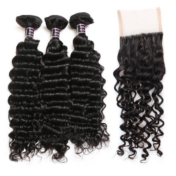 Ishow Hair Deep Wave Indian Hair Weave 3 Bundles with Side Part Closure