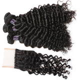 ishow cheap peruvian deep wave human hair weave 4 bundles with lace closure