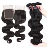 ishow hair malaysian body wave hair 4 bundles with virgin hair closure