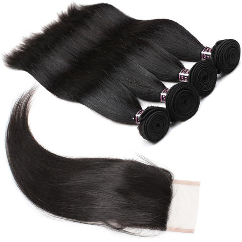 ishow malaysian straight virgin human hair 4 bundles with lace closure