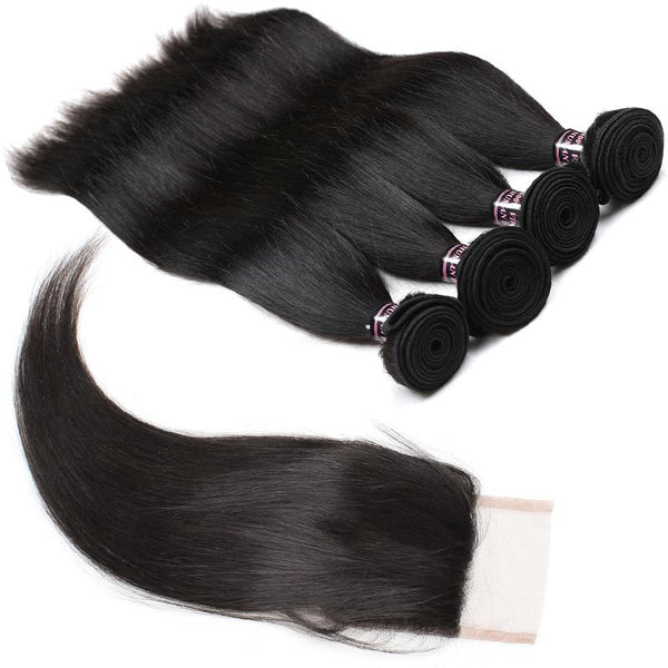 Ishow Hair Indian Straight Virgin Human Hair 3 Bundles with Lace Closure
