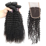 ishow brazilian curly weave human hair 4 bundles with curly lace closure