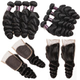 ishow hair malaysian loose wave 4 bundles with virgin hair closure