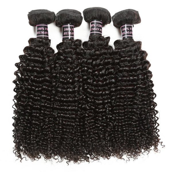 Ishow Hair Virgin Indian Jerry Curly Weave Human Hair Bundles 4pcs/Lot - Easy Hair