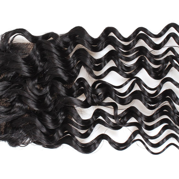 Allove Brazilian Virgin Hair Deep Wave 4 Bundles With Closure - Easy Hair