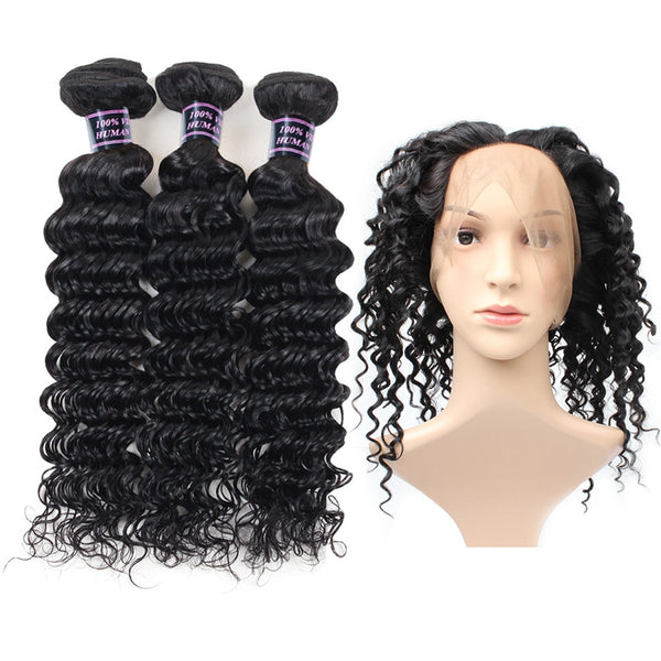 Easy Hair Malaysian Deep Wave Virgin Hair 3 Bundles With 360 Lace Frontal Closure - Easy Hair