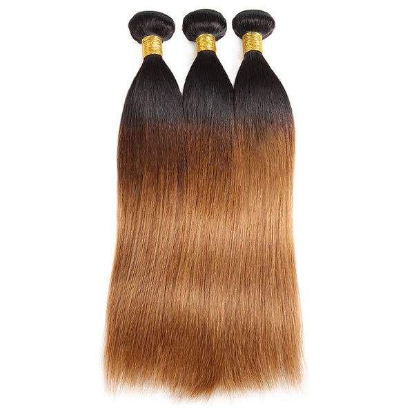 Easy Hair T1B/30 Brazilian Human Pre-colored Straight Virgin Human Hair Extensions 3 Bundles - Easy Hair
