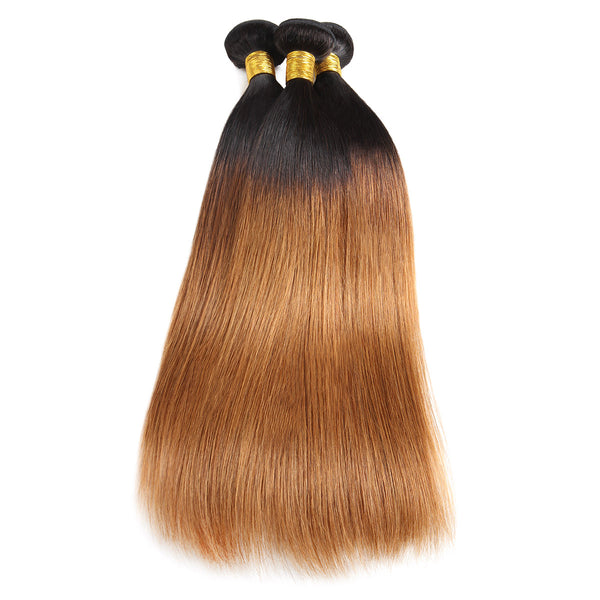 Easy Hair Ombre T1B30 Indian Virgin Straight Wave Human Hair Extensions 3 Bundles With 4*4 Lace Closure - Easy Hair