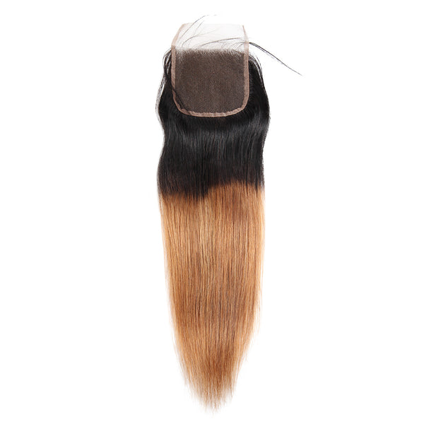 Easy Hair Ombre T1B30 Peruvian Virgin Straight Wave Human Hair Extensions 3 Bundles With 4*4 Lace Closure - Easy Hair
