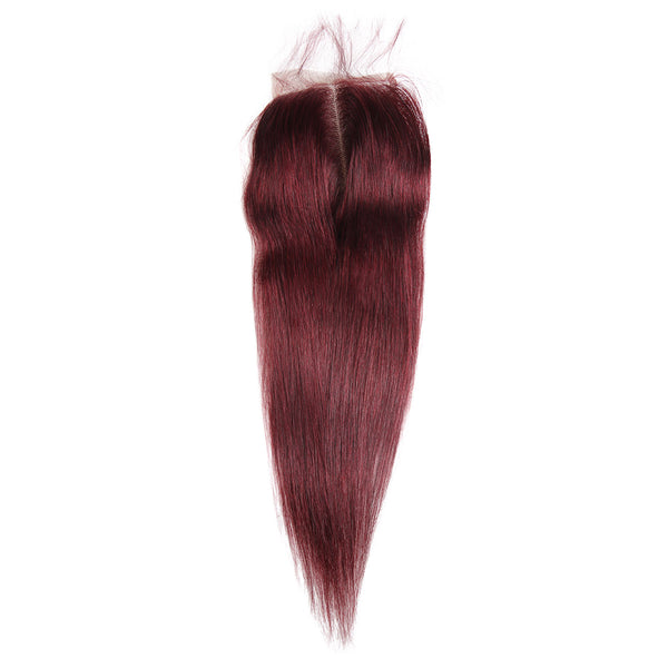 Easy Hair Ombre 99J Peruvian Virgin Straight Wave Human Hair Extensions 3 Bundles With 4*4 Lace Closure - Easy Hair