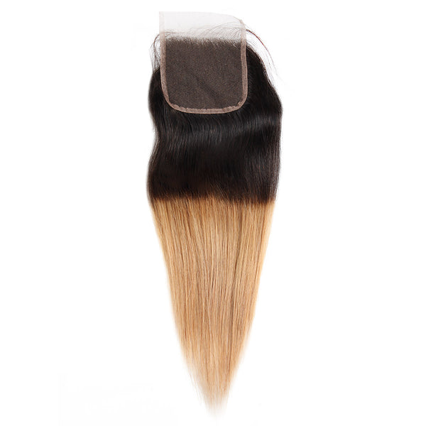 Ishow Hair Ombre T1B/27 Malaysian Virgin Straight Wave Human Hair Extensions 3 Bundles With 4*4 Lace Closure - Easy Hair