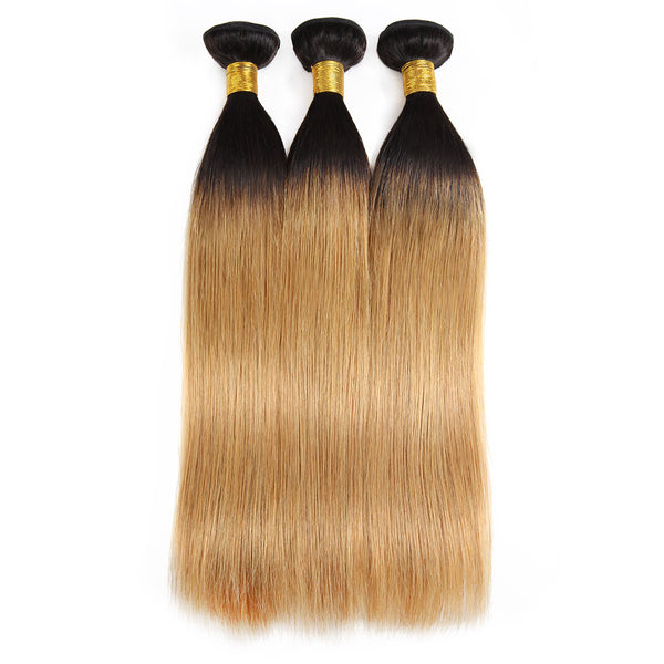 Easy Hair Ombre T1B/27 Brazilian Virgin Straight Wave Human Hair Extensions 3 Bundles With 4*4 Lace Closure - Easy Hair