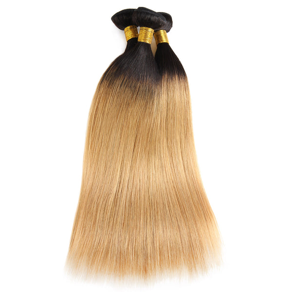 Easy Hair Ombre T1B/27 Indian Virgin Straight Wave Human Hair Extensions 3 Bundles With 4*4 Lace Closure - Easy Hair