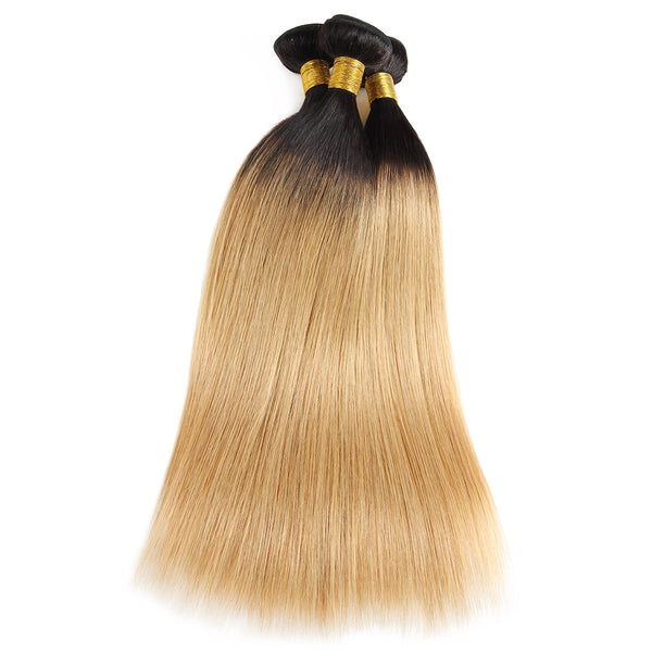 Easy Hair T1B/27 Peruvian Human Pre-colored Straight Virgin Human Hair Extensions 3 Bundles - Easy Hair