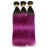Easy Hair T1B/BUG Brazilian Human Pre-colored Straight Virgin Human Hair Extensions 3 Bundles