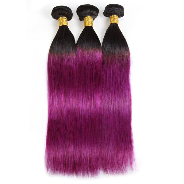 Easy Hair Ombre T1B/BUG Indian Virgin Straight Wave Human Hair Extensions 3 Bundles With 4*4 Lace Closure - Easy Hair