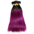 Easy Hair Ombre T1B/BUG Brazilian Virgin Straight Wave Human Hair Extensions 3 Bundles With 4*4 Lace Closure - Easy Hair