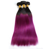 Easy Hair Ombre T1B/BUG Peruvian Virgin Straight Wave Human Hair Extensions 3 Bundles With 4*4 Lace Closure