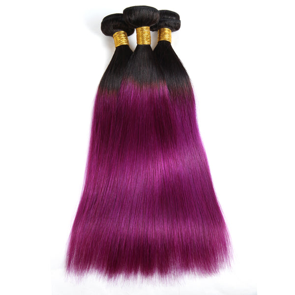 Ishow Hair Ombre T1B/BUG Indian Virgin Straight Wave Human Hair Extensions 3 Bundles With 4*4 Lace Closure - Easy Hair