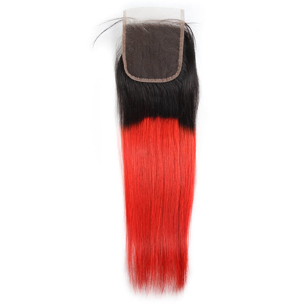 Easy Hair Ombre T1B/39J Malaysian Virgin Straight Wave Human Hair Extensions 3 Bundles With 4*4 Lace Closure - Easy Hair