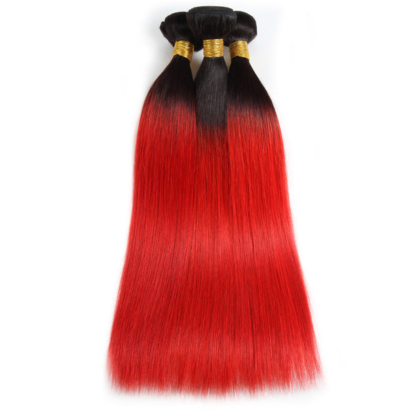 Ishow T1B/39j Malaysian Human Pre-colored Straight Virgin Human Hair Extensions 3 Bundles - Easy Hair