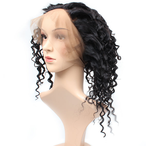 Easy Hair Malaysian Deep Wave Human Hair 360 Lace Frontal Closure 1pc/lot - Easy Hair