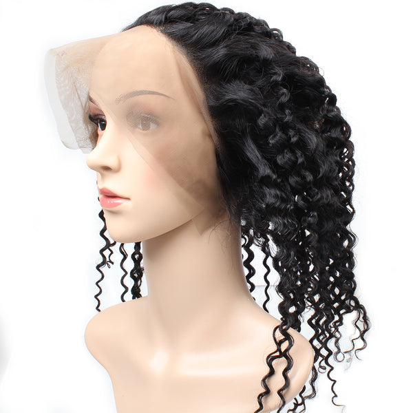 Easy Hair Malaysian Virgin Curly Human Hair 360 Lace Frontal Closure 1pc/lot - Easy Hair