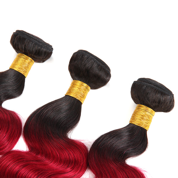 Ishow Hair Peruvian T1B/99J Ombre Body Wave Virgin Human Hair Extensions 3 Bundles With 4x4 Lace Closure - Easy Hair