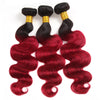 Easy Hair T1B/99J Indian Human Pre-colored Body Wave Virgin Human Hair Extensions 3 Bundles