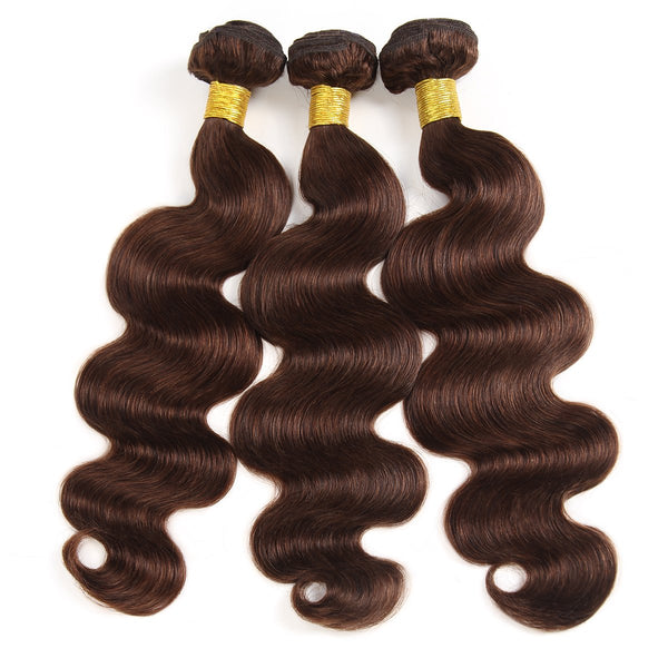 Easy Hair Body Wave Virgin Malaysian Human Hair 3 Bundles Ombre 4# Human Hair Weave 300g - Easy Hair
