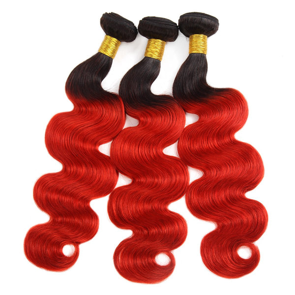 Easy Hair Brazilian T1B/39J Ombre Body Wave Virgin Human Hair Extensions 3 Bundles With 4x4 Lace Closure - Easy Hair