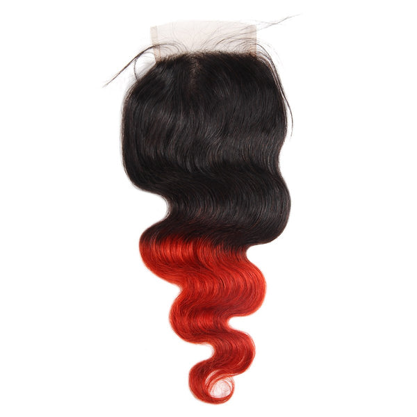 Ishow Hair Peruvian T1B/39J Ombre Body Wave Virgin Human Hair Extensions 3 Bundles With 4x4 Lace Closure - Easy Hair