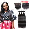 Easy Hair 8A Brazilian Virgin Straight Hair 3 Bundles With Lace Frontal Closure