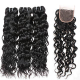 ishow hair peruvian water wave 3 bundles with human hair lace closure